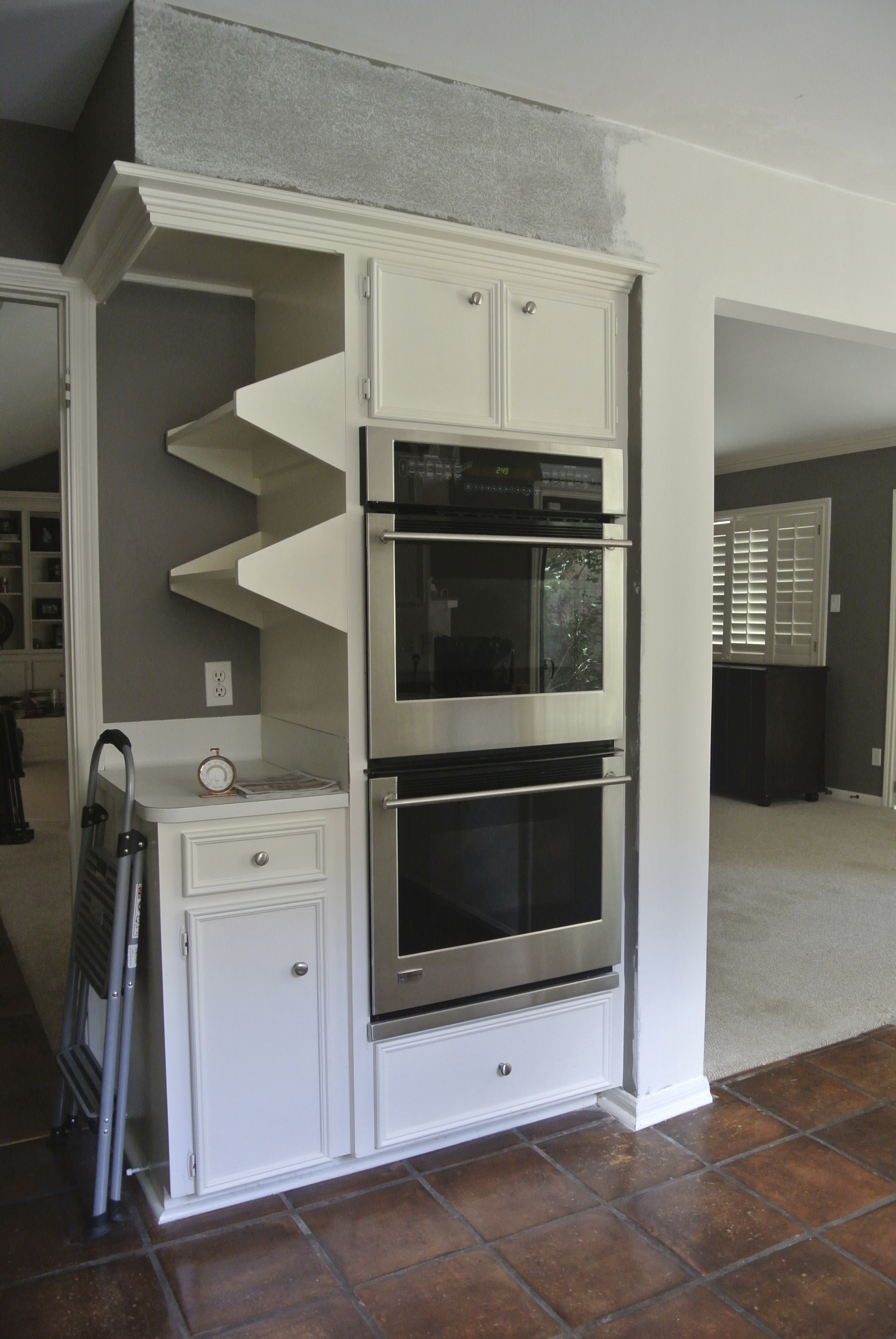 Torsion Box Floating Shelves Into Side Of Kitchen Cabinets Woodweb S Cabinet And Millwork Installation Forum