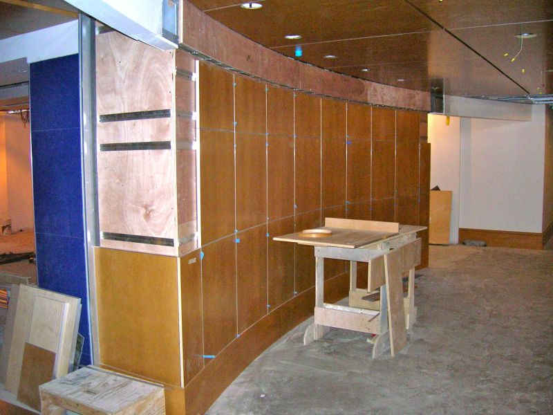 Hanging Curved Veneer Panels To A Curved Wall