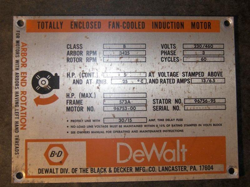 de walt motor wiring diagram dewalt 3521 radial arm saw  dewalt 3521 radial arm saw